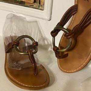 Franco Sarto Brown Leather Thong Kitten High Heels